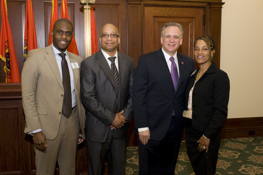 CBC Founder, Hanif Russell, CBC Senior Advisory Board Member,Ray Thomas, Nassau County Executive, Edward Mangano and CBC Founder Sandra McCarty at 2013 Caribbean Leadership Breakfast